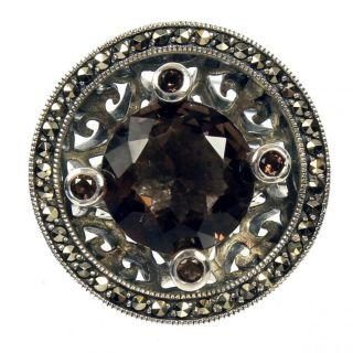 Carol Brodie Rarities Ring Sterling Silver Marcasite Amethyst, Size 7