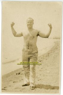1937 Photo Florida FL Bear Muscle Beefcake Man on Beach No Shirt Bare