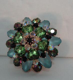 03) LOT OF 5 BEAUTIFUL RHINESTONE BLUE / GREEN BROOCHES PINS