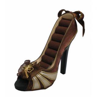 Brown Ring Holder Shoe High Heel Display Organizer New