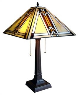Handcrafted Mission Styled Tiffany Style Stained Glass Table Lamp w 15