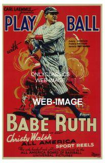 1934 Yankee Babe Ruth Play Ball Baseball Movie Poster