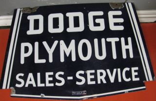 Dodge Plymouth Sales   Service Sign Double sided porcelain c. 1930s
