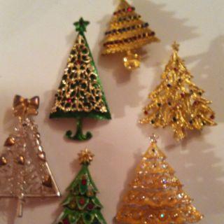 Vtg Lot Christmas Tree Brooch Pins Repair Lot