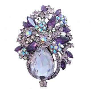 Gorgeous Flower Drop Brooch Pin Purple Rhinestone Crystal Pendant