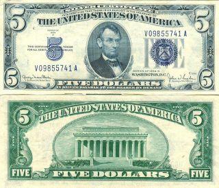 1934 $5 Silver Certificate Large Blue Seal Nice Clean Crisp Grade Note