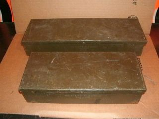 old antique industrial metal boxes western electric phone tool parts
