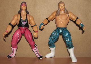 Bret Hart Shawn Michaels WWF RARE Used Jakks BCA Figure Set WWE Lot
