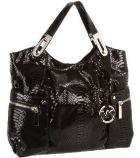 428 MICHAEL KORS BROOKTON LARGE E W LEATHER BLACK PYTHON SNAKE SATCHEL