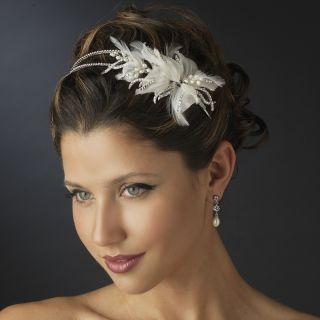Ivory Pearl Clear Rhinestone Floral Feather Bridal Headband