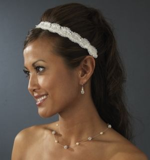 Ivory Satin Ribbon Bridal Wedding Headband with Pearls
