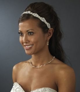New White Ribbon Bridal Headband Pearls Rhinestones
