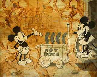 Mickey Mouse Hot Dog Cart William Silvers Disney New Canvas Le 150