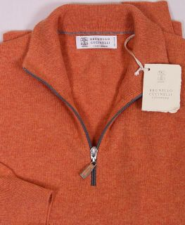 Brunello Cucinelli Sweater Orange 100 Cashmere 1 2 Zip Pullover Jumper