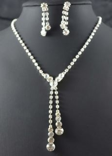 Bridal Bridesmaid crystal Tear Drop Necklace earring Jewelry sets 390