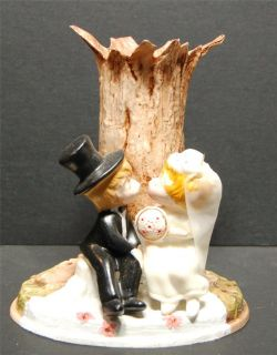 wedding cake topper vintage bride groom wilton 1971 vase combo kissing