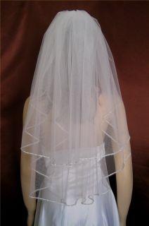 Bridal Veils Wedding Brides Two Tier Diamond Off White Rhinestone Trim