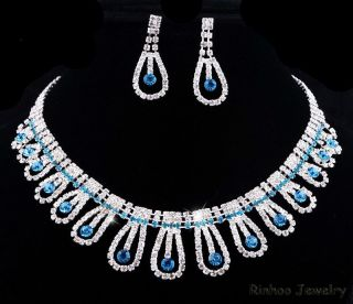 Earrings Jewelry Set Rhinestone Crystal for Wedding Bridesmaid