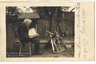 1907 RPPC of Mr William H Stocking 101 Year Old Man Newton Falls Ohio