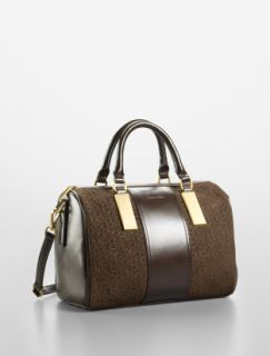 Calvin Klein Brynn leather& Suede Satchel Brown two tone Color no
