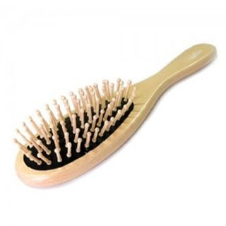 New Natural Wooden Hair Comb Brush Round Wood Bristles Spa Massage