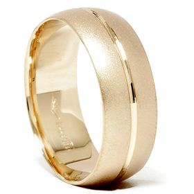 8mm Brushed 14k Yellow Gold Comfort Fit Wedding Ring Band Solid