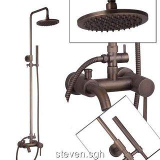 Antique Brass Wall Mounted Rain Shower Faucet Set FG 81
