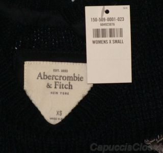 Abercrombie Fitch Womens Sweater Brittan Wool Jumper Top Navy Blue XS
