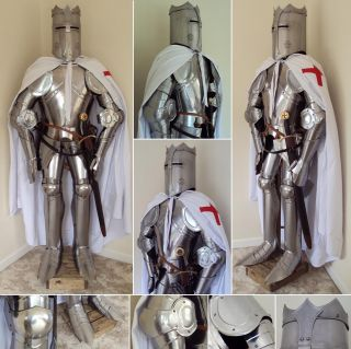 Authentic Design   English Grand Knights Templar Full Suit Of Armour.