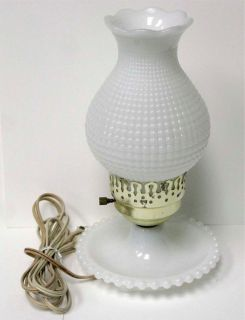 Vintage White Milk Glass Lamp Table Light Hobnail Bubble Hurricane