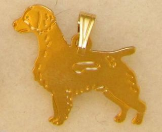Brittany Spaniel Jewelry Gold Pendant for Necklace