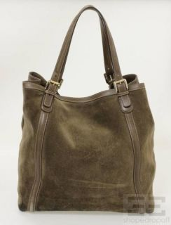 Gucci Taupe Suede Leather Trim Britt Large Tote Bag