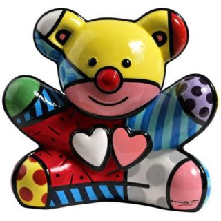 Romero Britto Teddy Bear Colorful Ceramic Cookie Jar by Westland New