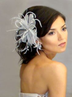 Ivory PEARL RHINESTONE BROOCH Feather Fascinator Clip Headpiece Bridal