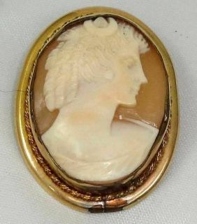 Antique Gold Gilt Victorian Nouveau Carved Shell Cameo Brooch Vintage