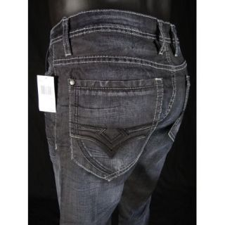 Mens Buffalo Jeans Game Boot Cut Dark Crinkled by David Bitton