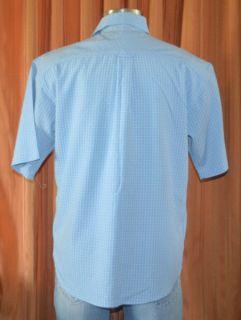 Bugatchi Uomo Short Sleeve Blue Black Modal Rayon Polyester Shirt Mens