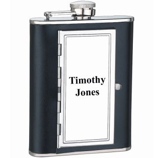 PERSONALIZED Stainless Steel Genuine Black Leather 6oz Cigarette Case
