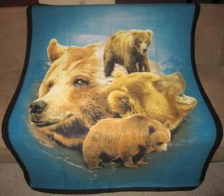 New Brown Grizzly Bears Soft Fleece Throw Gift Lap Blanket Rustic