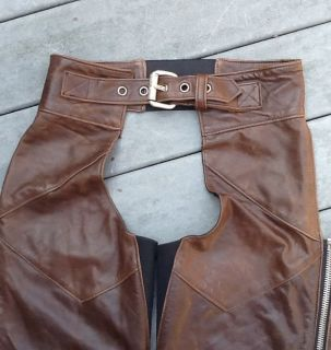 Harley Davidson Brown Leather Shovelhead Chaps Women USA