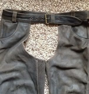Harley Davidson Brown Billings Leather Chaps Men XL