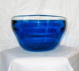 Blenko Shepherd designer series hand blown art glass bowl signed