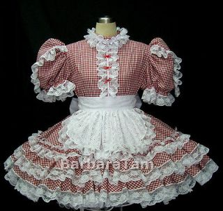 bbt adult sissy gingham french maid dress from hong kong