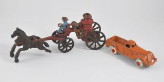 Antique Cast Iron Toys Pair Fire Horse Drawn Wagon 1900s Car w Flat