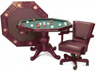Bumper Table Pool Table Poker Table 3 in 1 Octagon Table 48 Mahogany