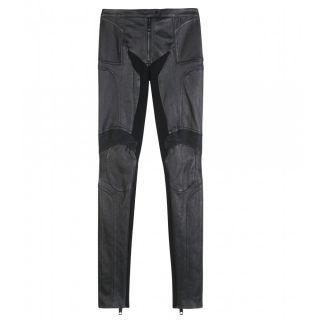Burberry Prorsum Black Biker Leather Pants UK12 Italy 44 Brand New