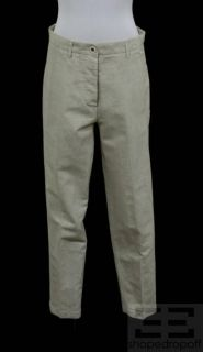Brunello Cucinelli Khaki Check Linen Cotton Straight Leg Pants Size US