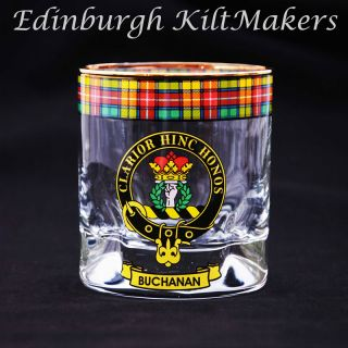 Irvine Clan Crested Whisky Glass Tartan Whisky Glasses