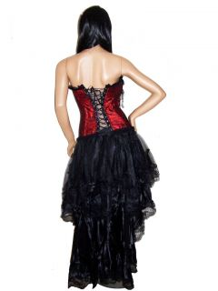 Red Burlesque Moulin Rouge Bustle Skirt Costume Set Sz s M L XL