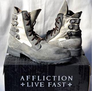 Affliction Mens BRUCH Pebbler Biker Boots   GRAY   Military   AC107